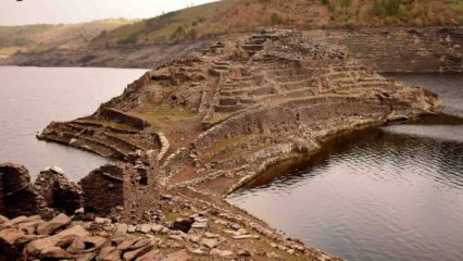 Submerged structures revealed as reservoirs dry up in Spain