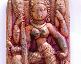 Idol of a Hindu mythological being found in abandoned temple