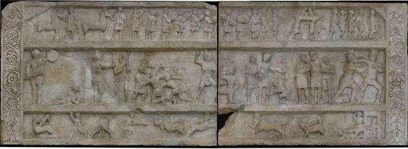 Tombstone depicting fighting Gladiators found at Pompeii