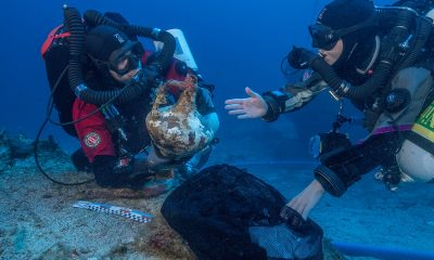 Parts of bronze statues found at the Antikythera shipwreck
