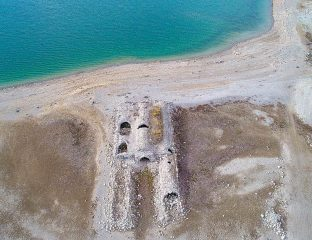 Seljuk-Era inn emerges from a drying water reservoir