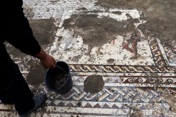 Roman-era mosaic depicting men in togas unearthed