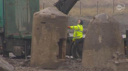 One-man shelters unearthed at construction site