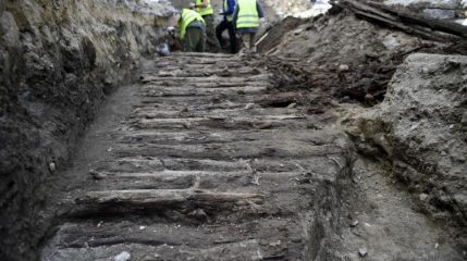 Road paved with wood among finds in city centre